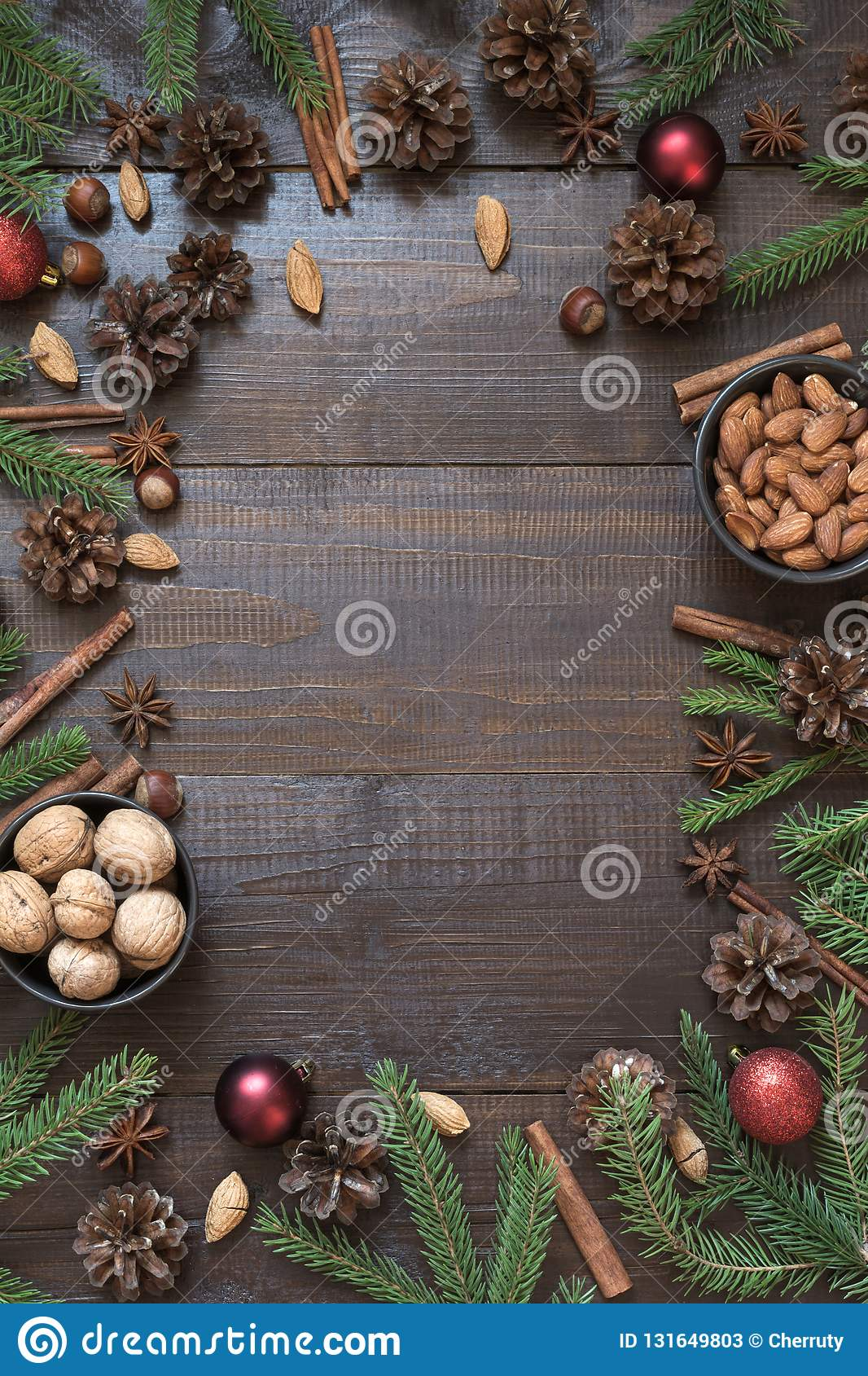 christmas border with ingredient for cooking holiday food with copy space