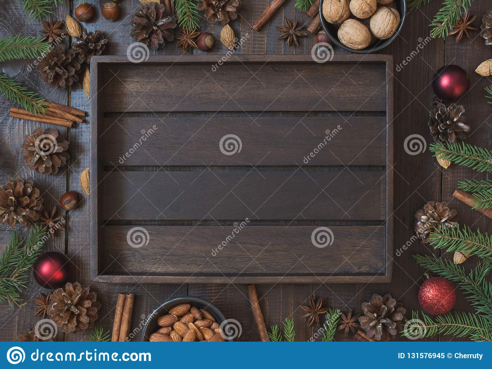 christmas border with ingredient for baking with copy space new year background