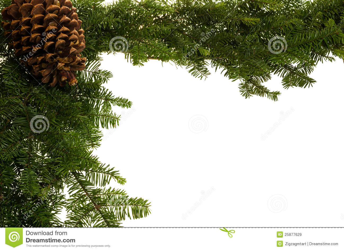 Christmas border with large pine cone royalty free stock for Large christmas pine cones