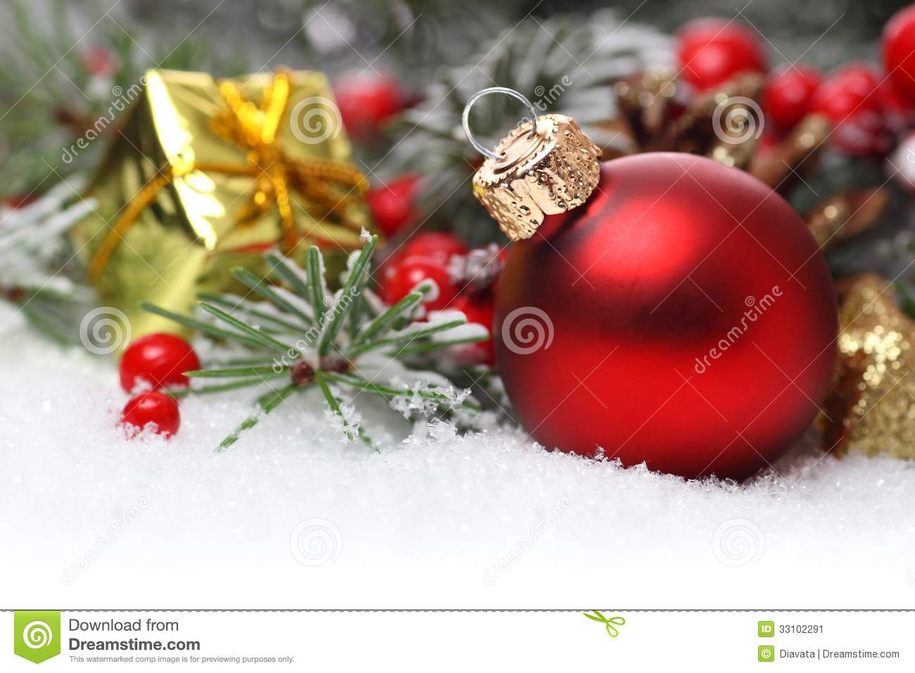Christmas border with ornament stock image