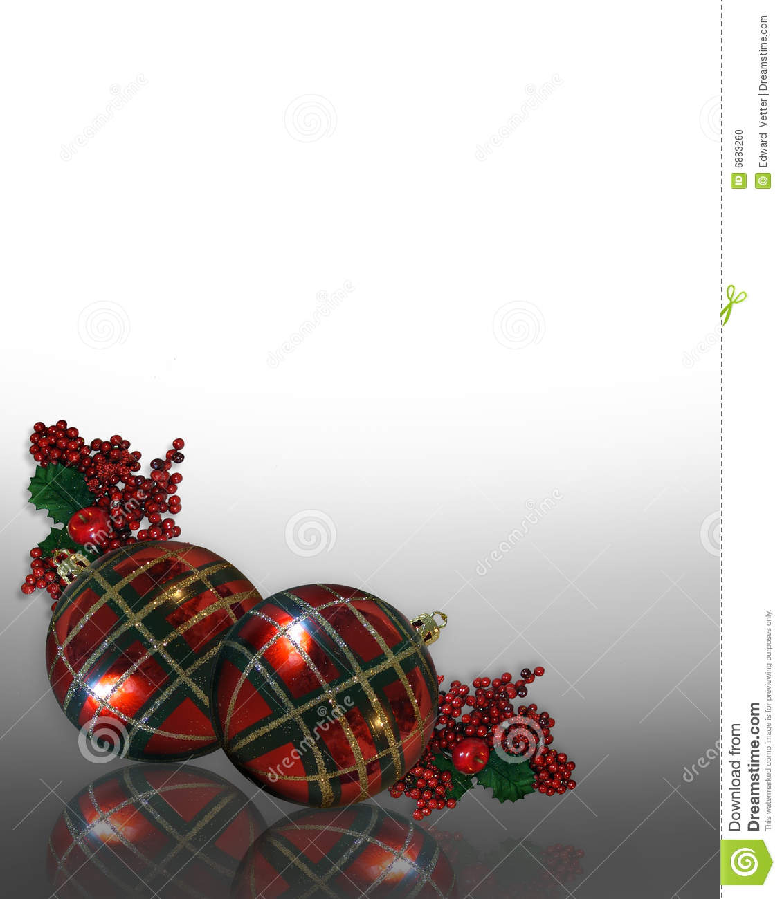 Christmas Border Ornaments Plaid Stock Illustration