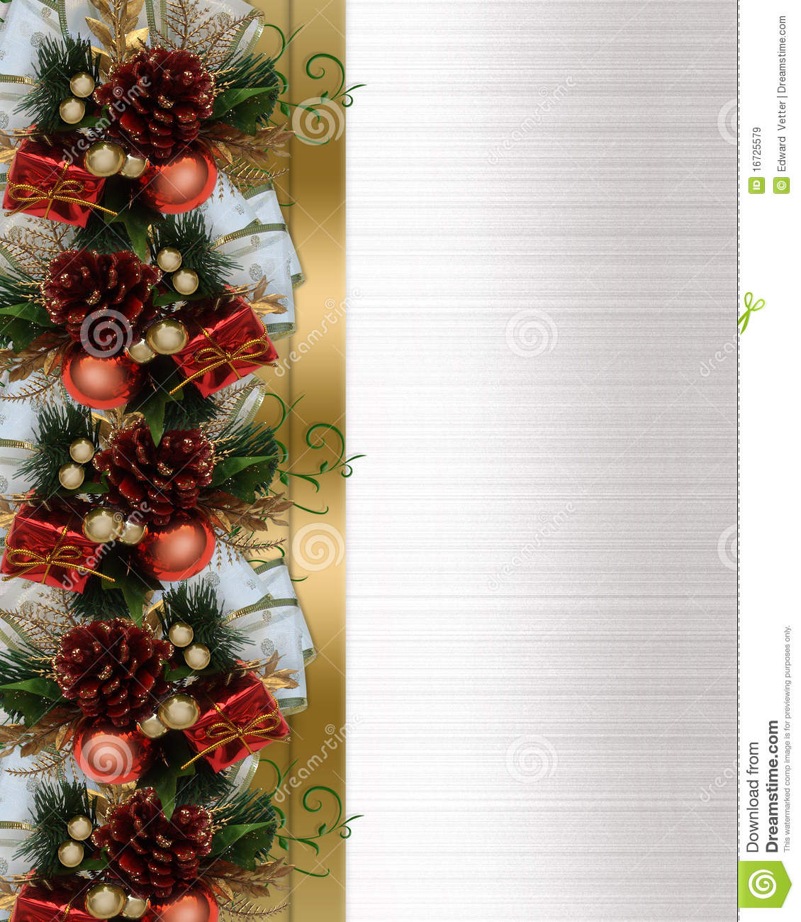 christmas border pine cones and bow royalty free stock