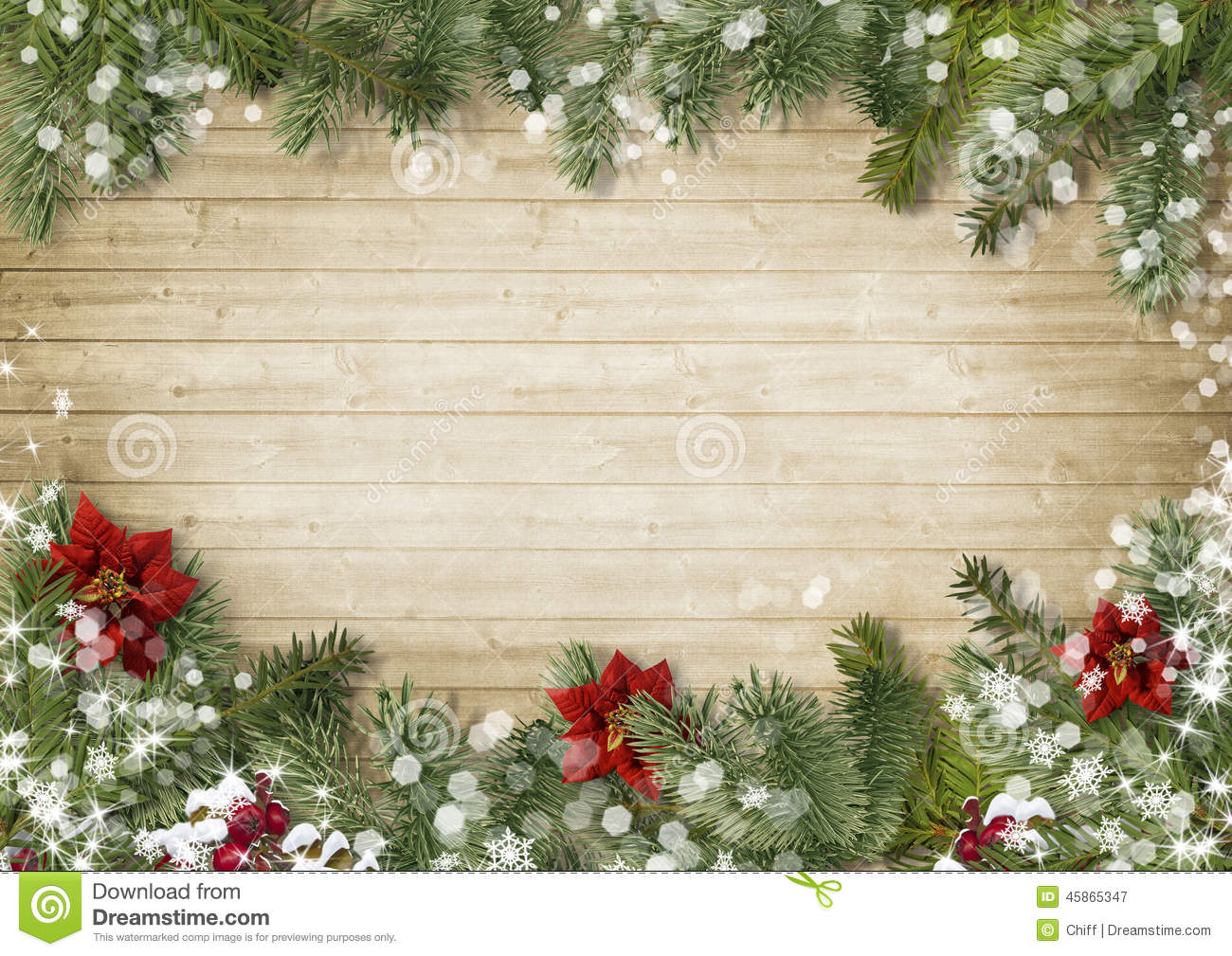 Christmas border with poinsettia onold wood background