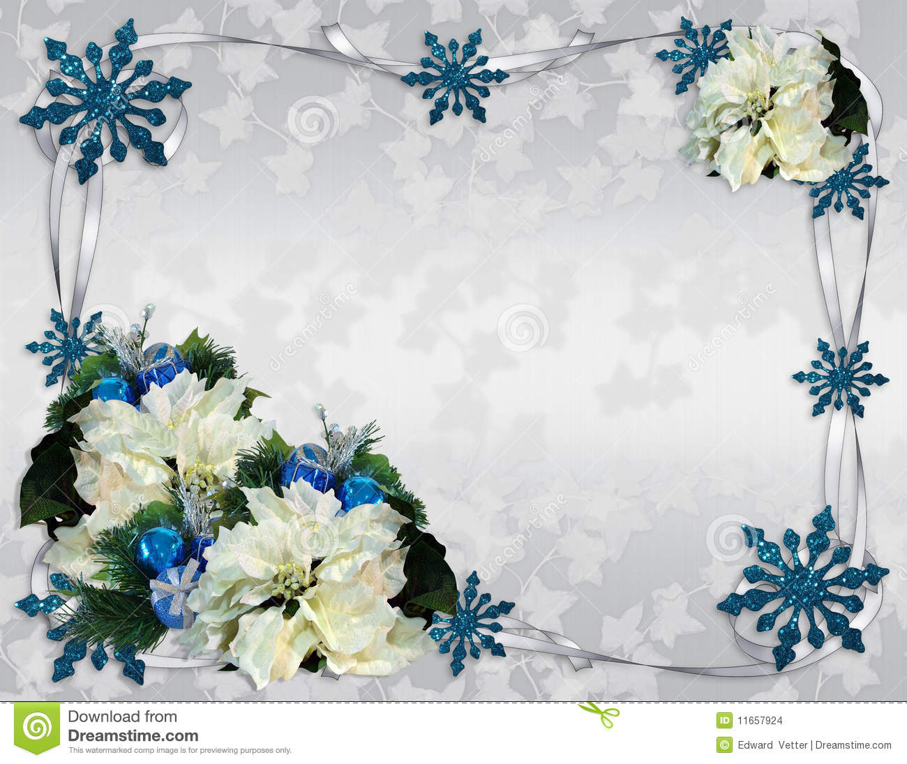Christmas Border Poinsettias Elegant Stock Illustration ...
