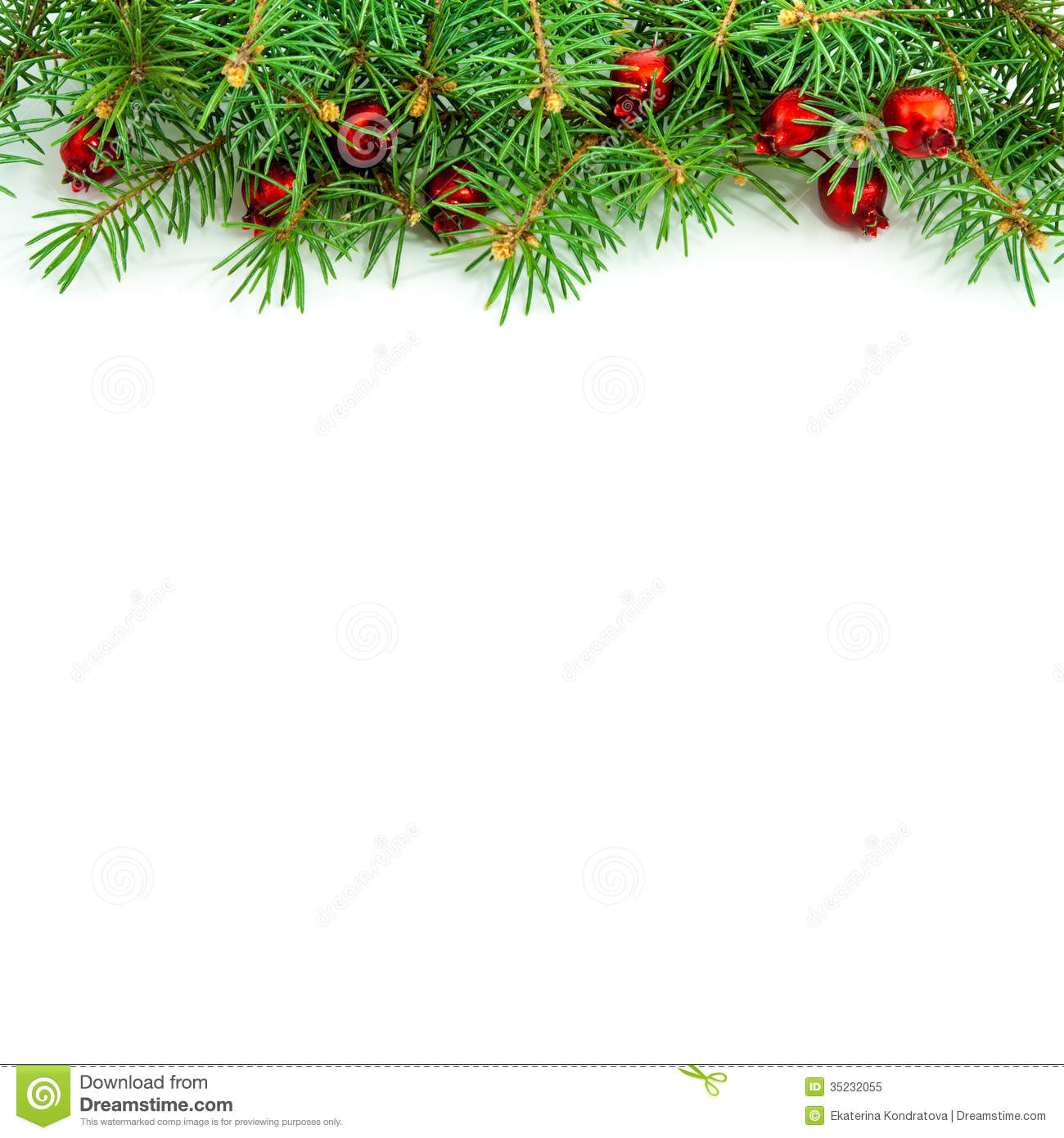 Christmas Border With Red Berries Royalty Free Stock Photo - Image ...