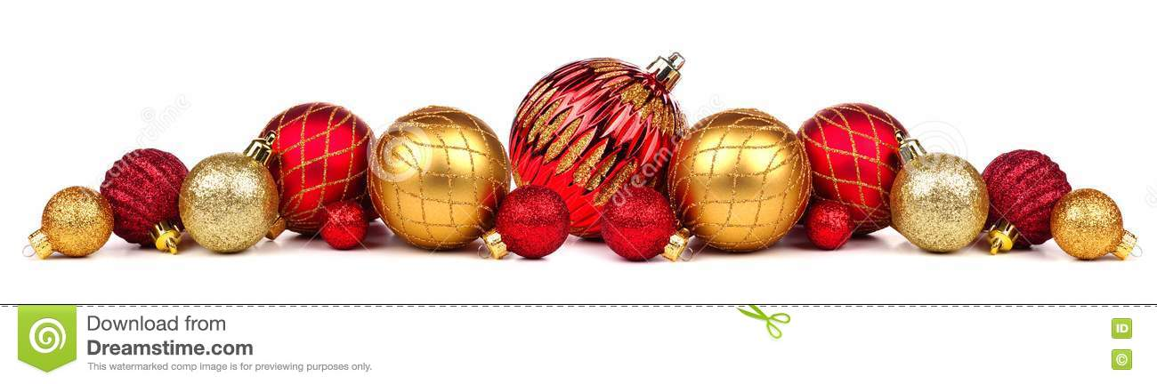 Christmas border of red and gold ornaments isolated on white