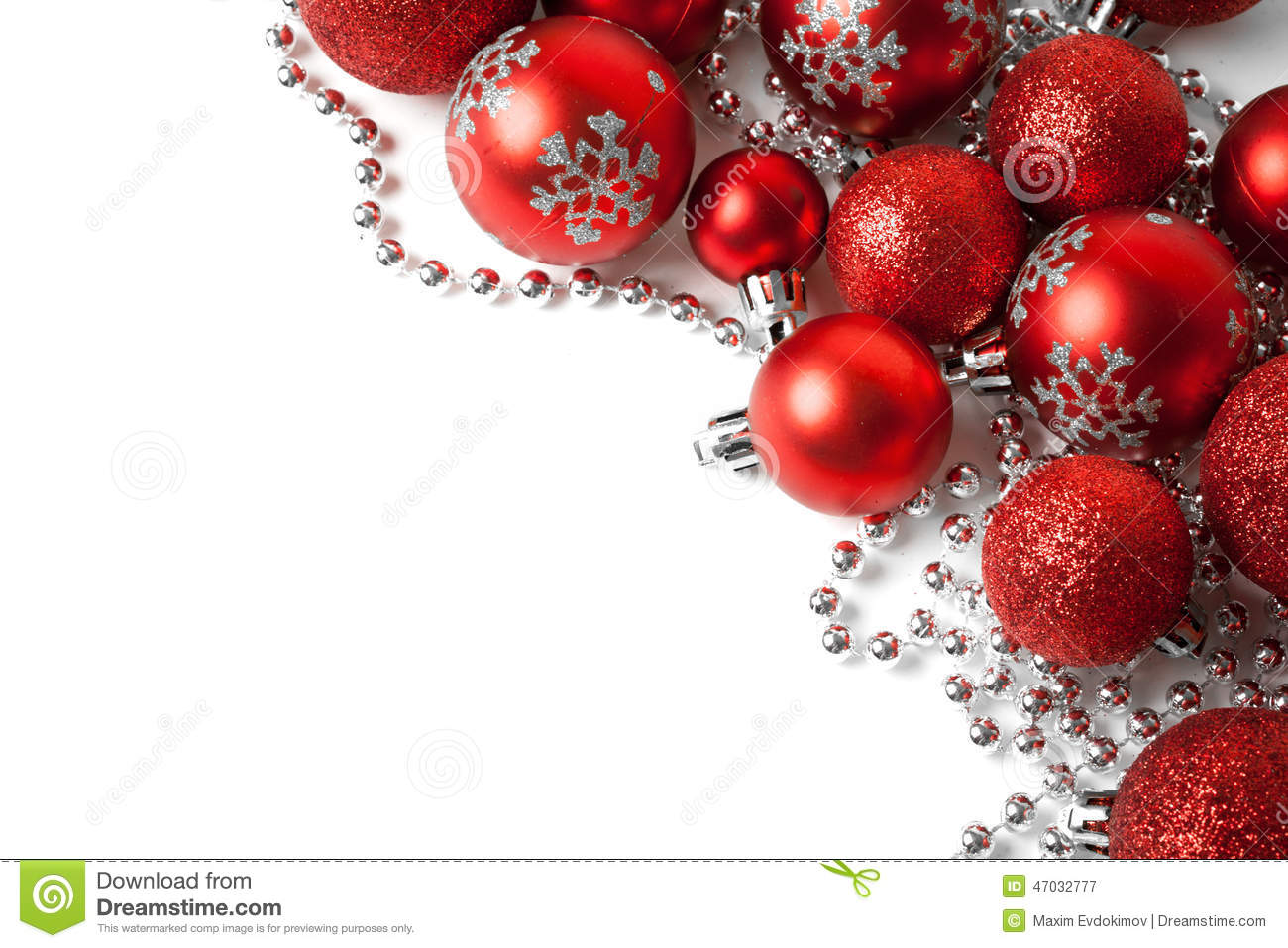 Christmas border with red ornament stock image