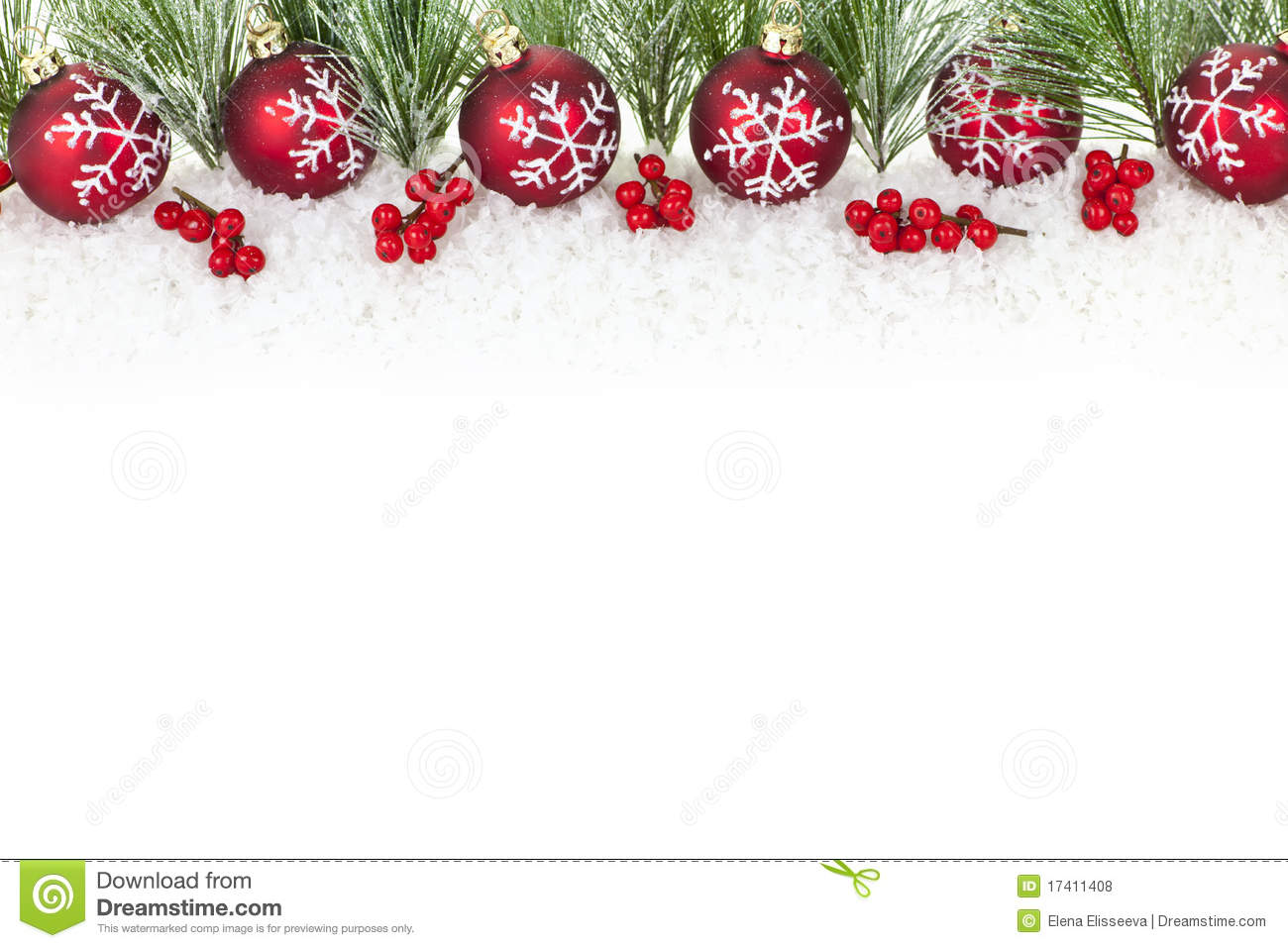 christmas border with red ornaments - Free Christmas Decorations