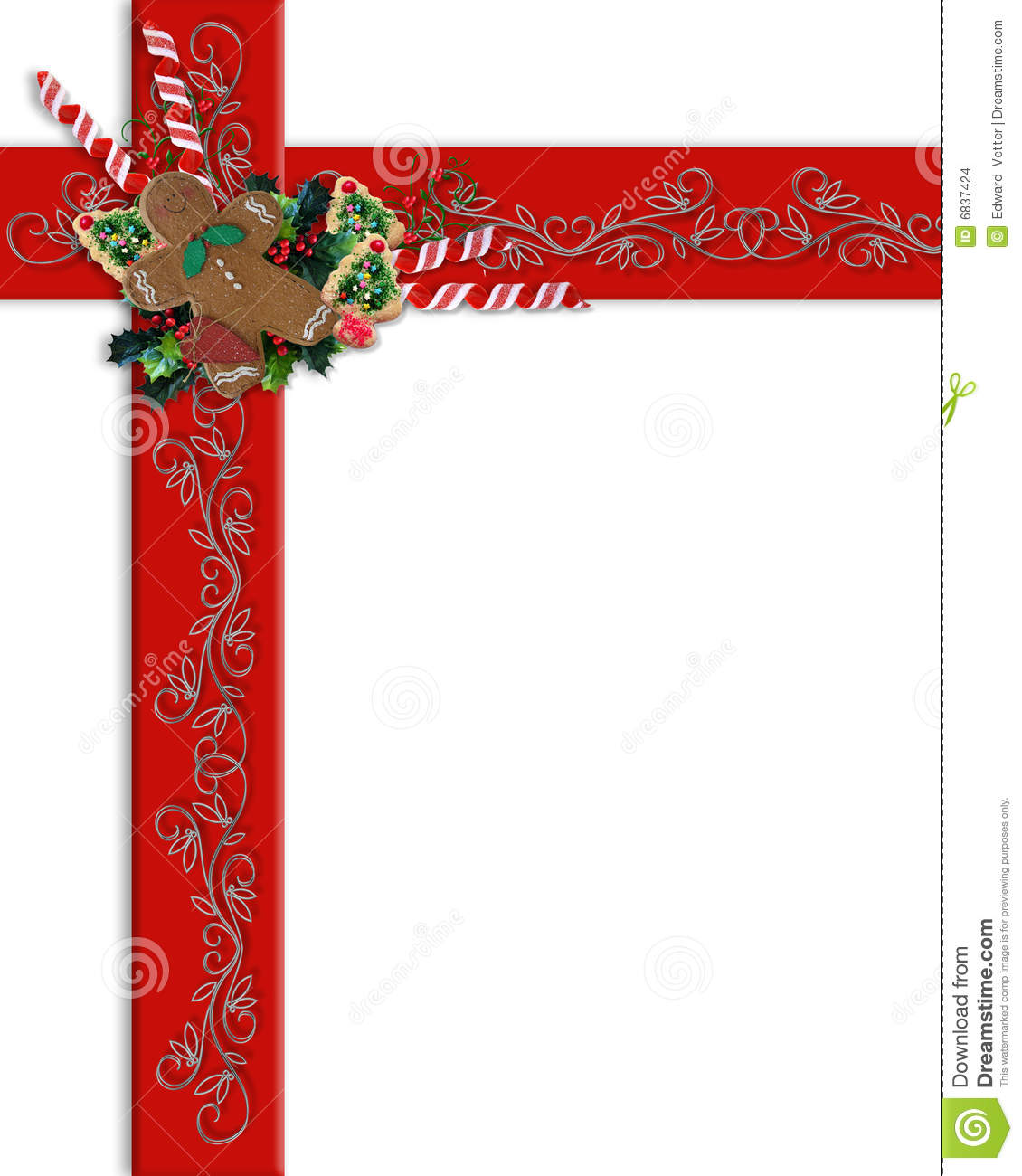 Christmas border red ribbons and treats stock illustration