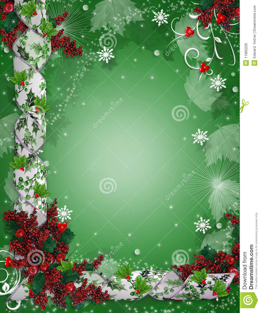 download christmas border ribbons elegant holly stock illustration illustration of delicate leaves 11960226