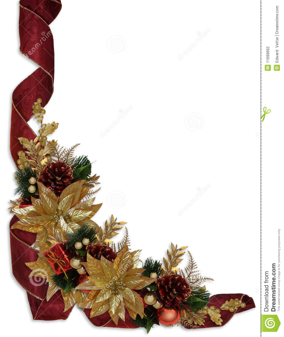 ... template with gold poinsettias, ornaments, holly, ribbons, copy space