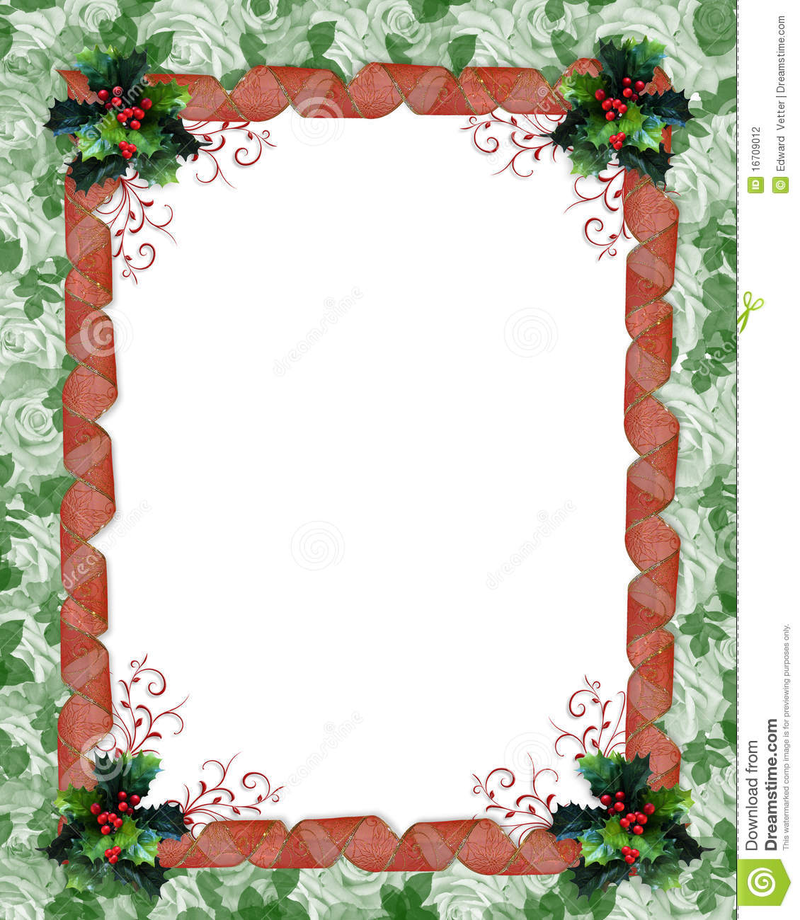 christmas border ribbons and holly stock illustration illustration