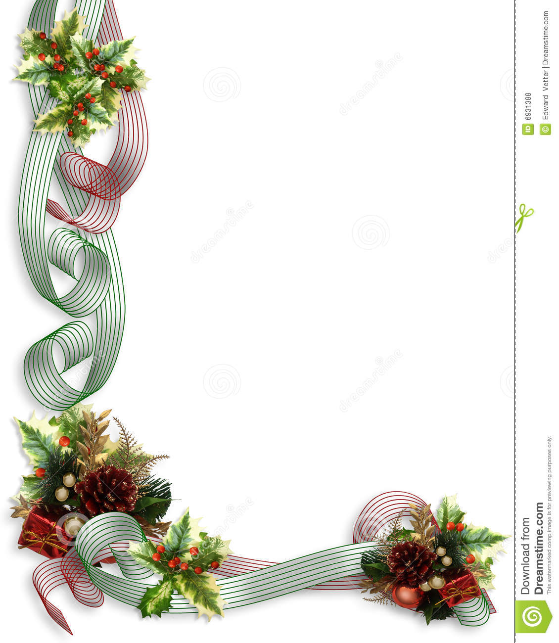 Christmas Border Ribbons And Holly Royalty Free Stock Photos - Image ...