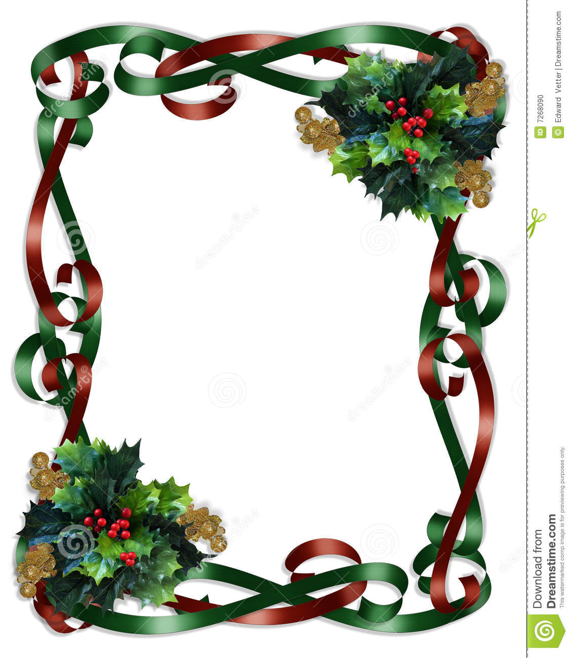 Christmas border ribbons and holly stock illustration