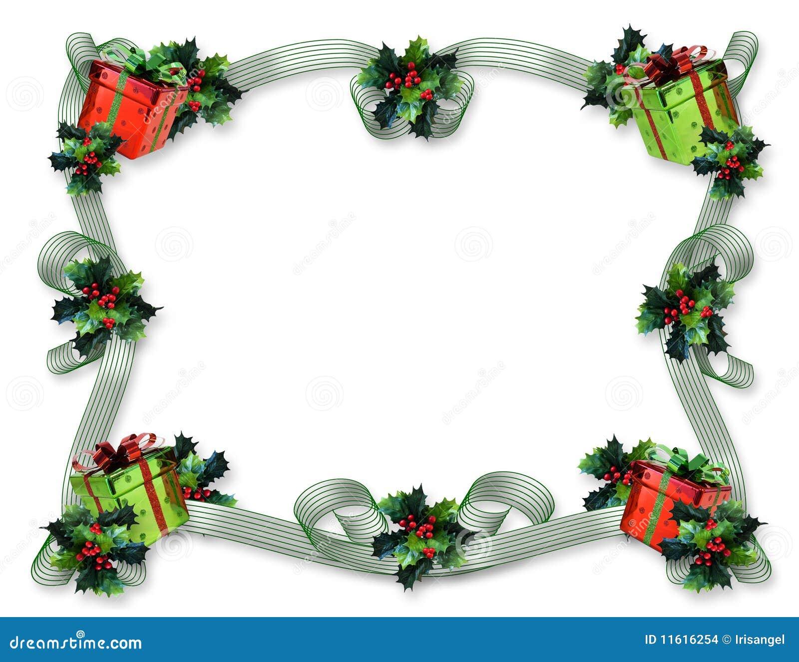 Christmas Border Ribbons Holly Presents Stock Illustration ...
