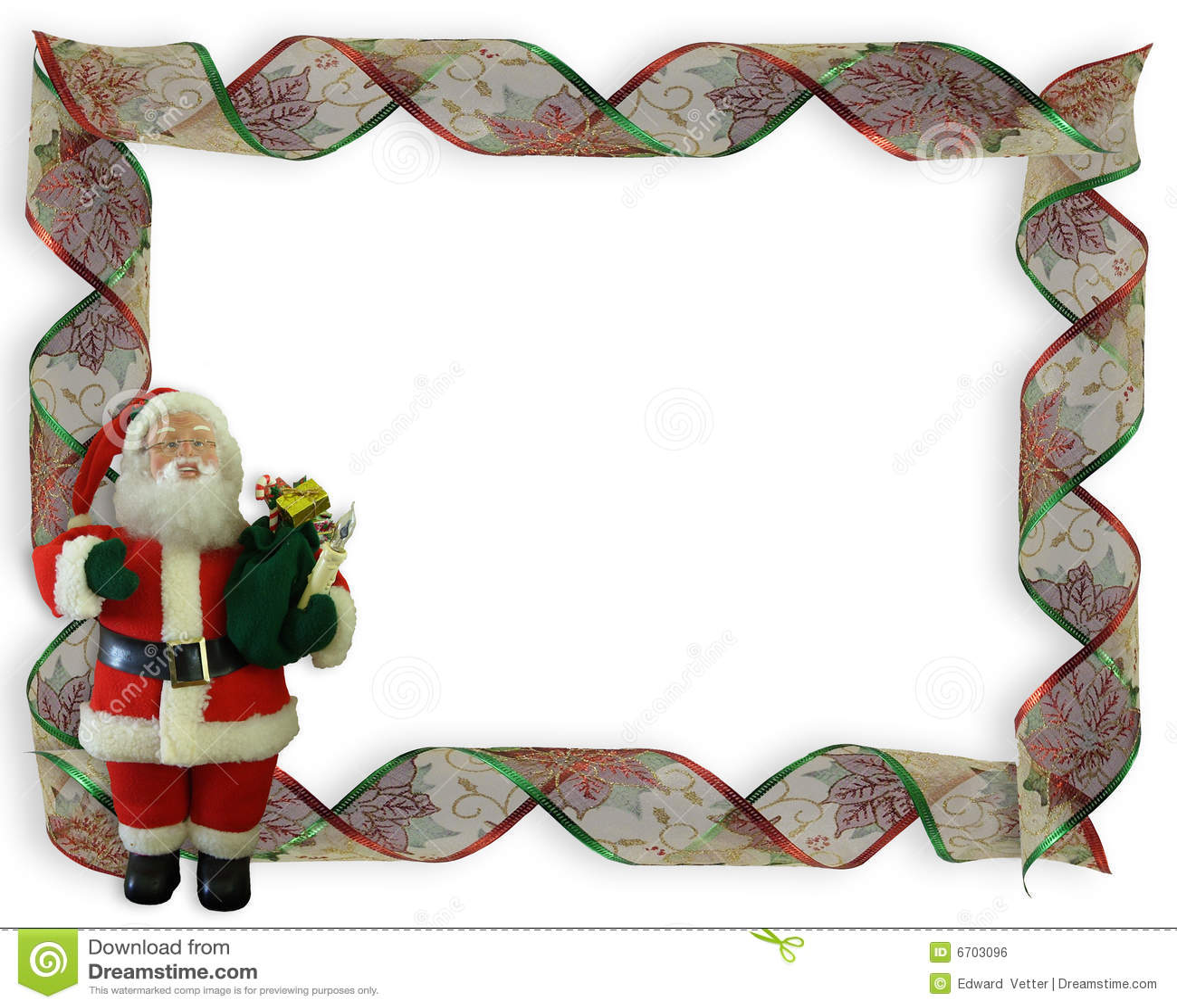 Christmas Border Ribbons And Santa Royalty Free Stock