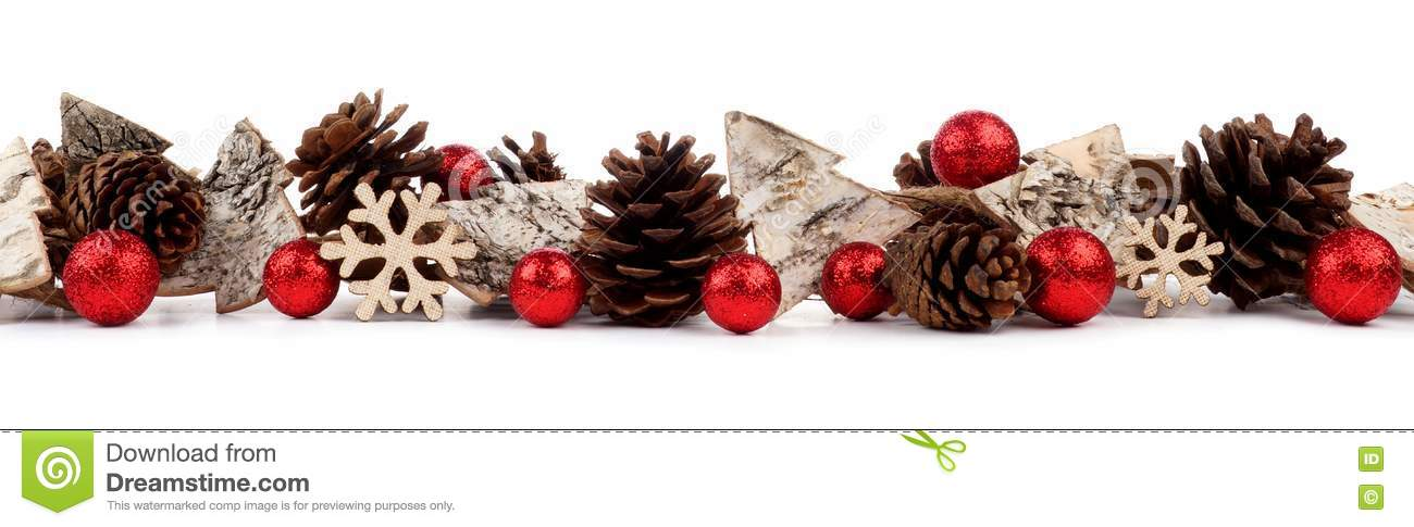 e40aaaa17d30 Christmas border with rustic wood tree ornaments, baubles and pine cones  isolated on a white background