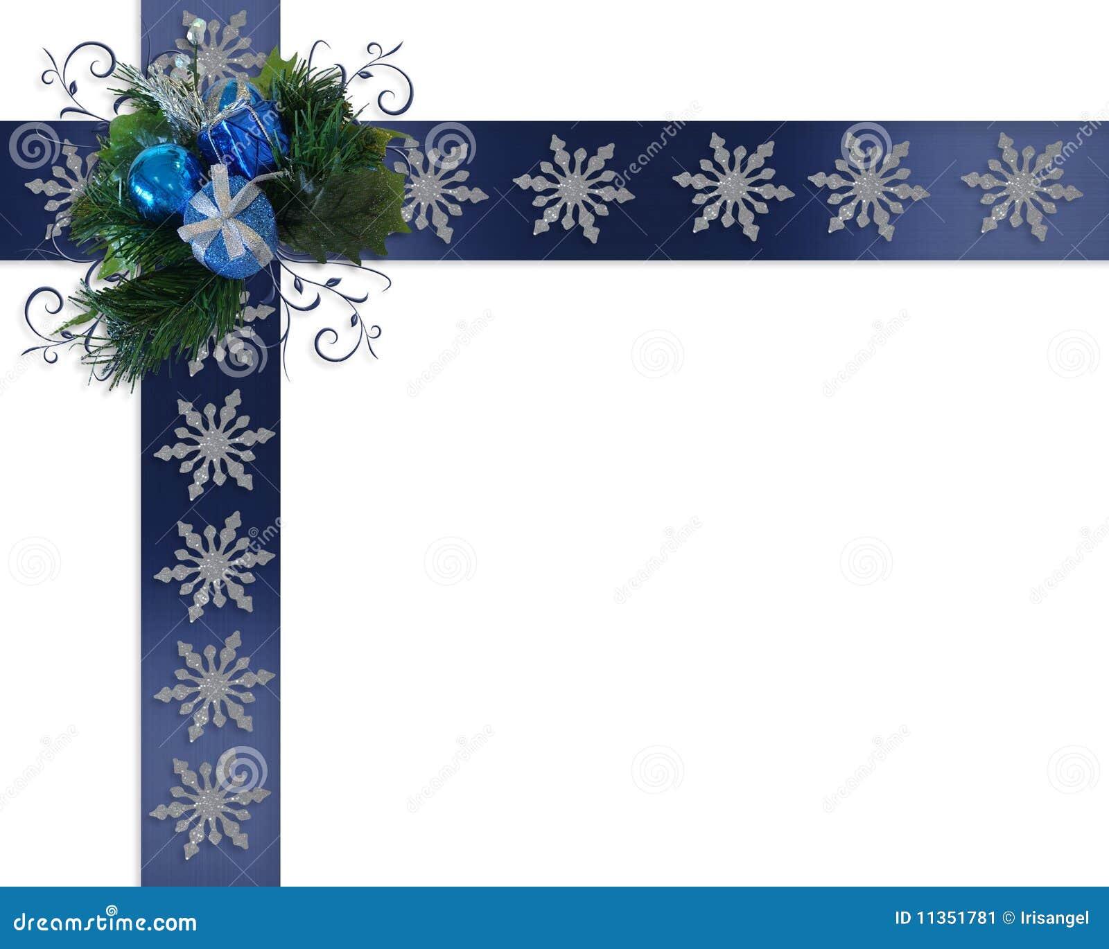 Christmas Border Snowflakes On Blue Ribbons Stock Image - Image ...
