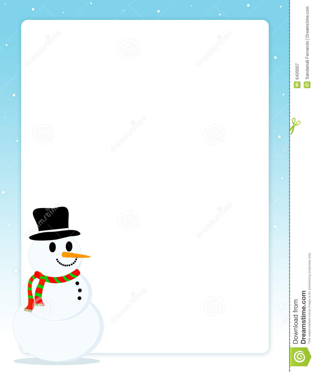Christmas Border With Snowman Royalty Free Stock Photography - Image ...