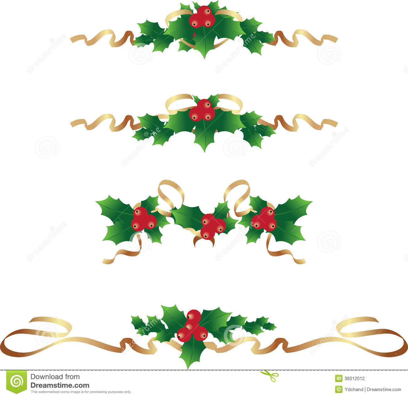 Christmas Border /text Dividers Set Stock Vector ...