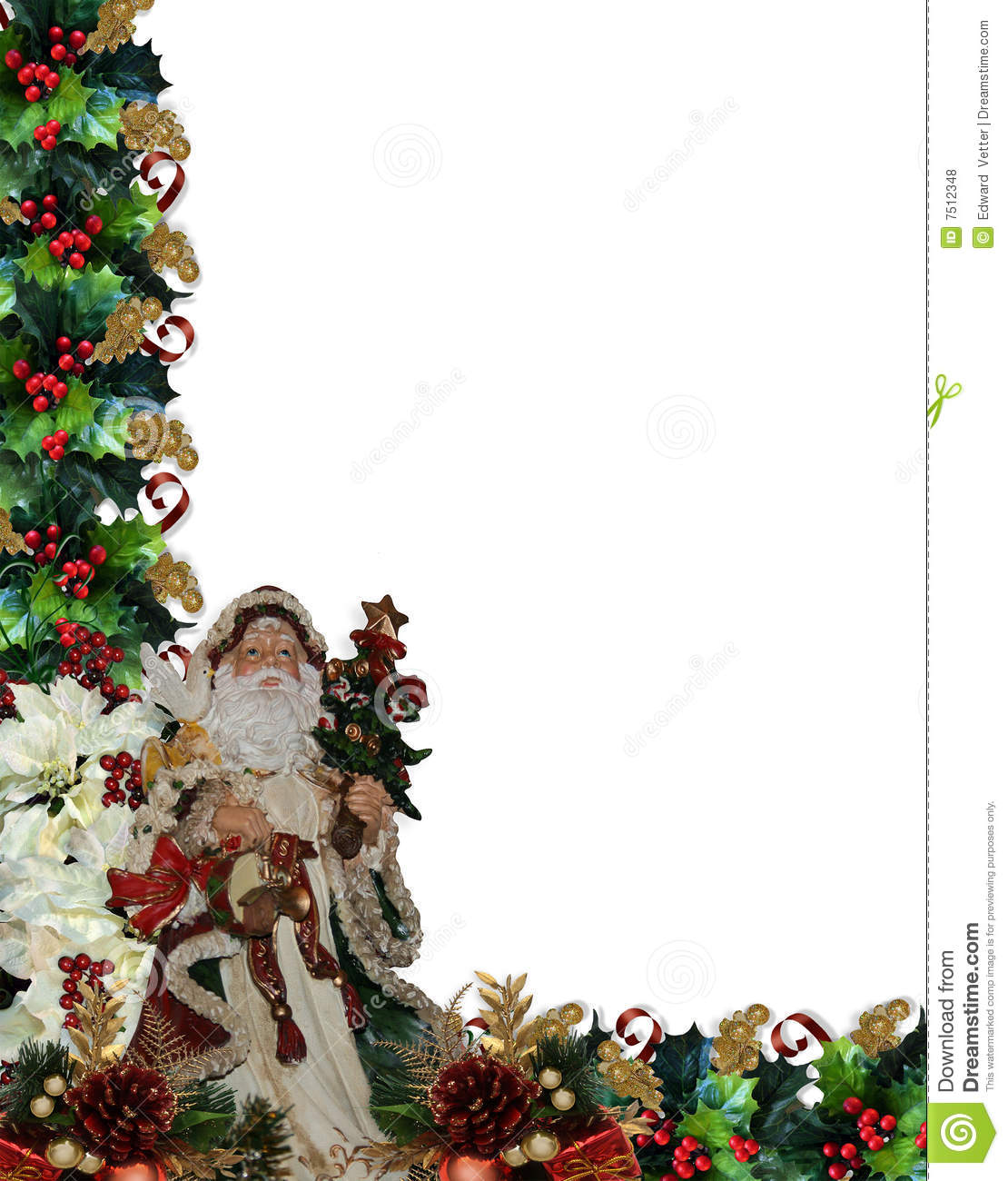 christmas border victorian santa stock illustration
