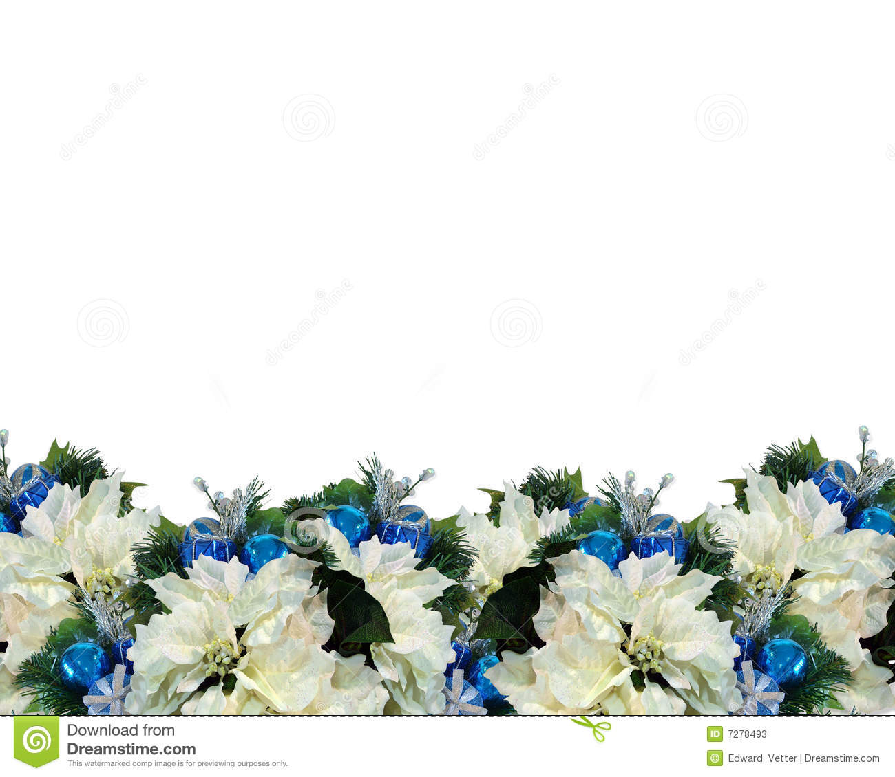 christmas border white poinsettia stock illustration