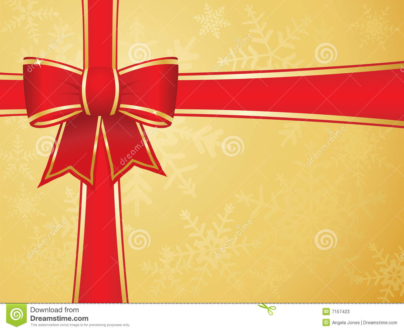Green Christmas Bow Background Graphics: Christmas Bow And Ribbons With Gold Background Stock