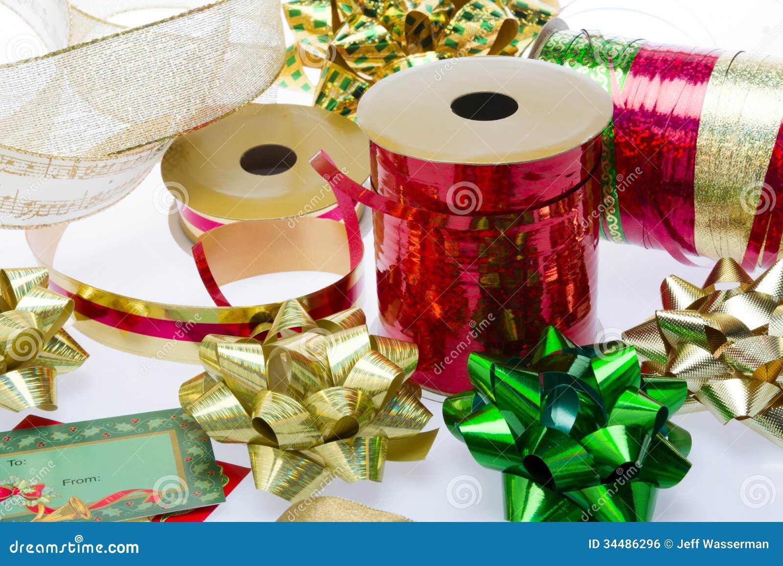Christmas bows and ribbon royalty free stock image