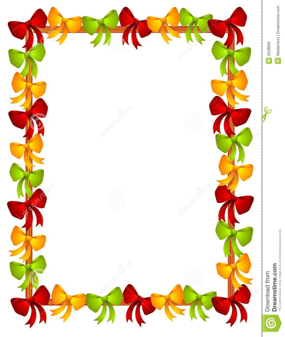 clip art illustration of colorful Christmas themed bows arranged as ...