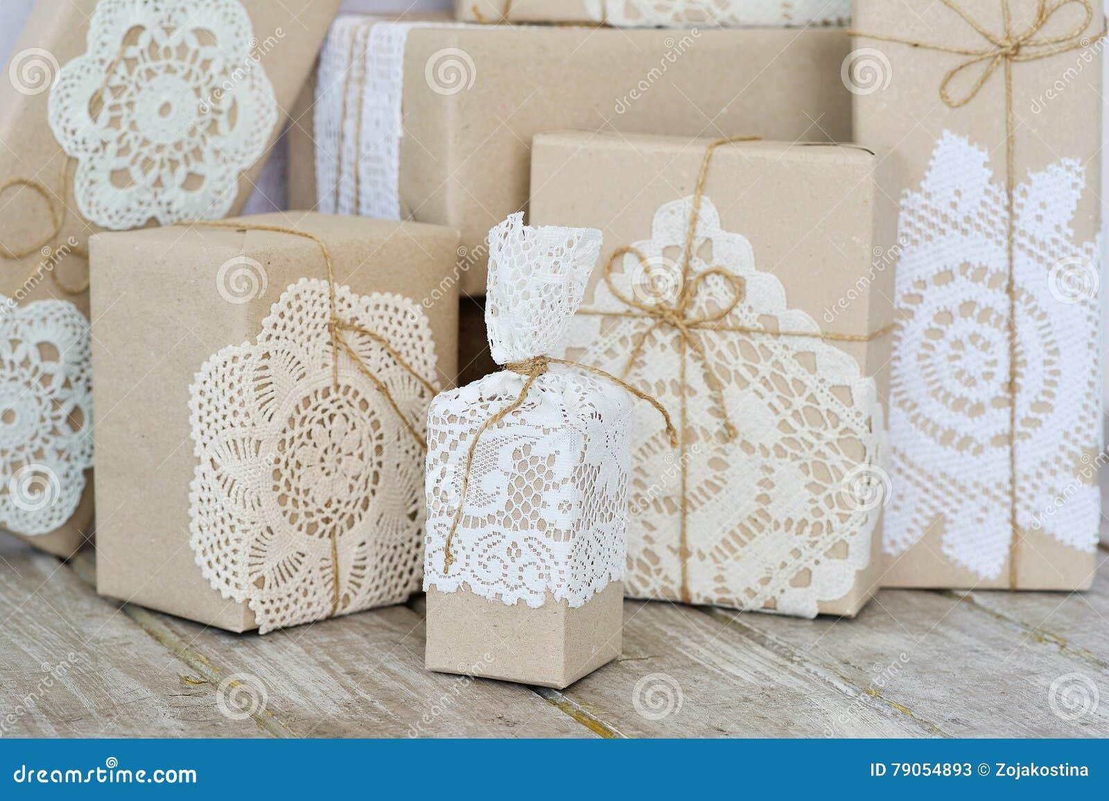 Christmas Box Wrapping Ideas Stock Image Image Of Handmade