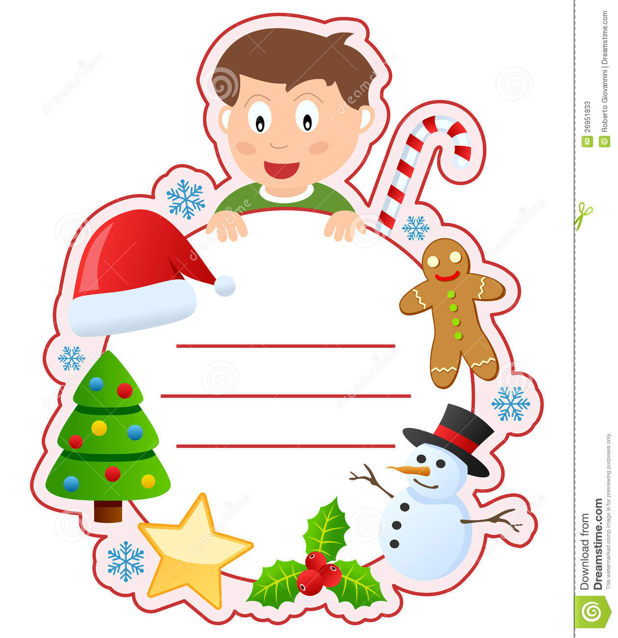 School Book Cover Pictures : Christmas boy book cover frame stock vector illustration