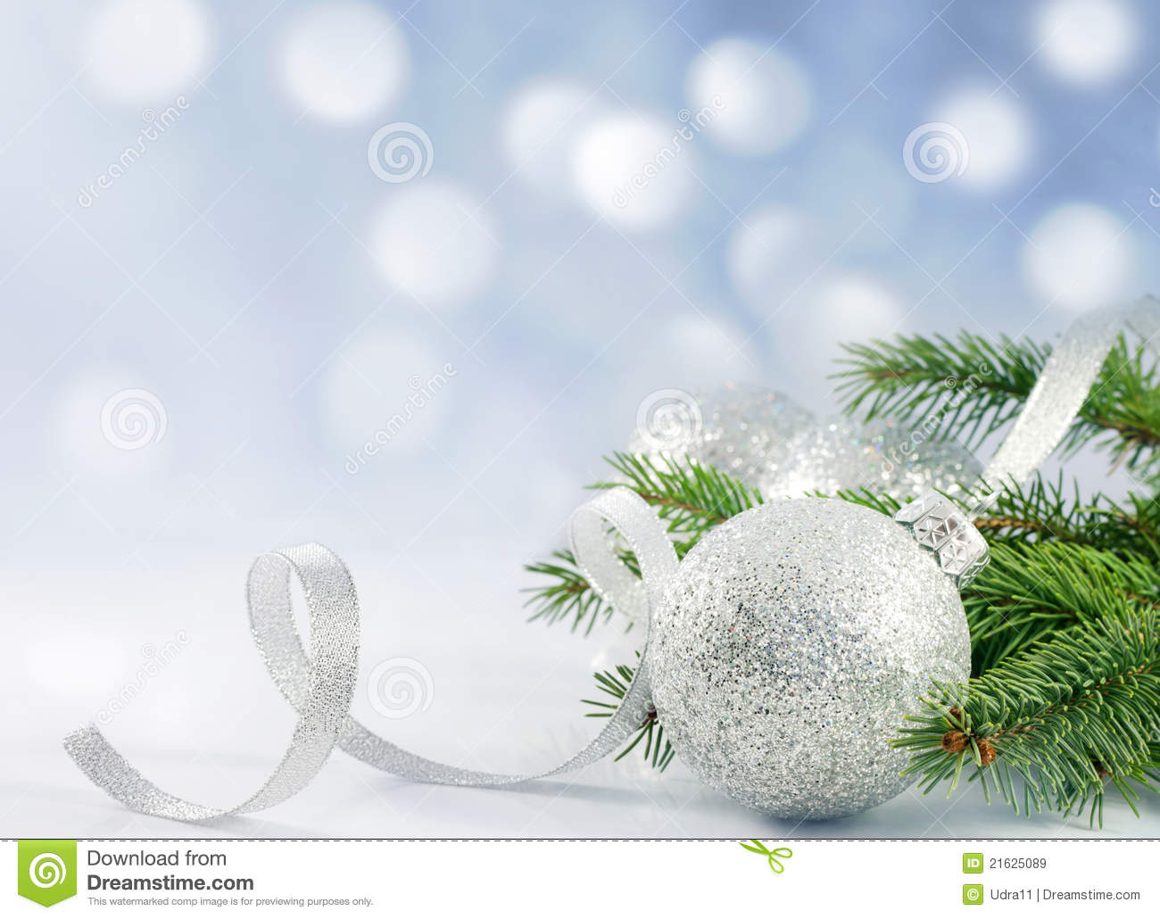Christmas branch of tree ribbon and bauble