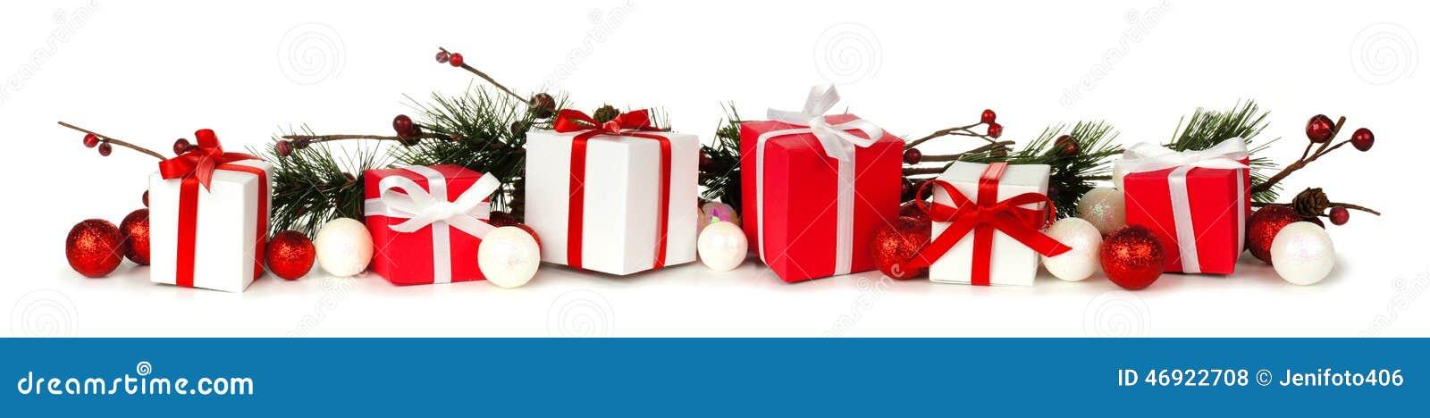 Christmas Toys Border : Christmas branches and gift border stock photo image of