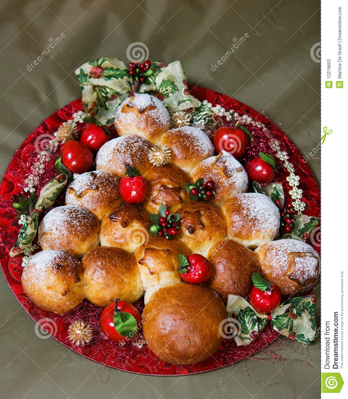Christmas Bread Rolls Stock Image. Image Of December