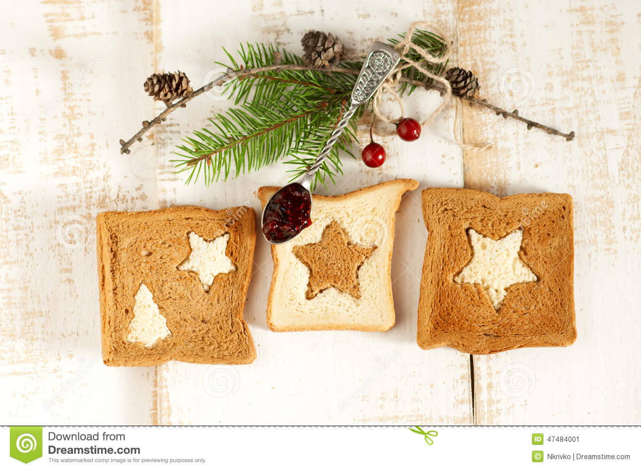 Christmas Breakfast. Slice Toast Bread Stock Photo - Image: 47484001
