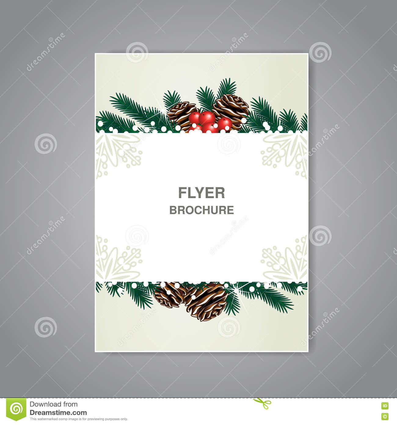 flyer template christmas theme and decoration cover design christmas brochure twigs cones and snow beige flyer or book design poster