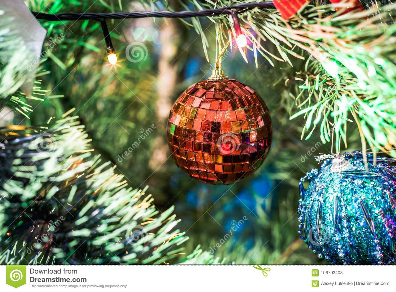 Christmas Bubble And Christmas Tree To Celebrate New Year