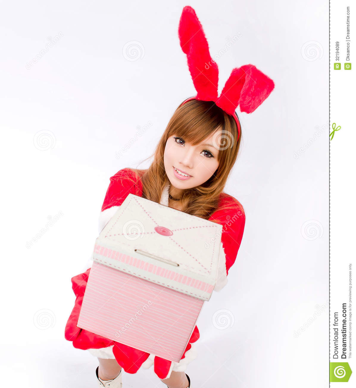 Christmas bunny girl japanese style gift box stock image for Japanese inspired gifts