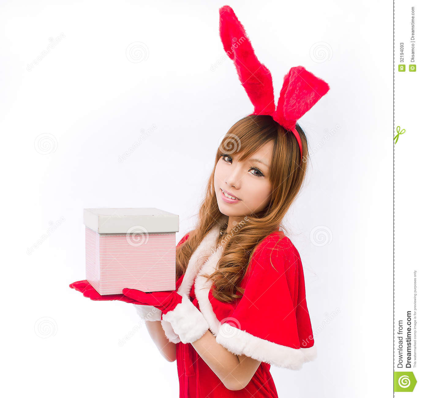 Christmas bunny girl japanese style gift box stock photos for Japanese inspired gifts