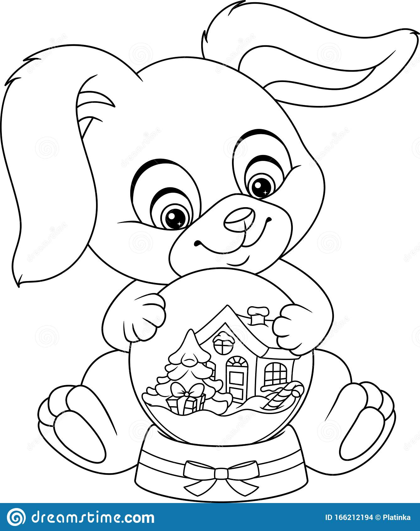 Christmas Bunny With Snow Globe Coloring Page Stock Vector ...