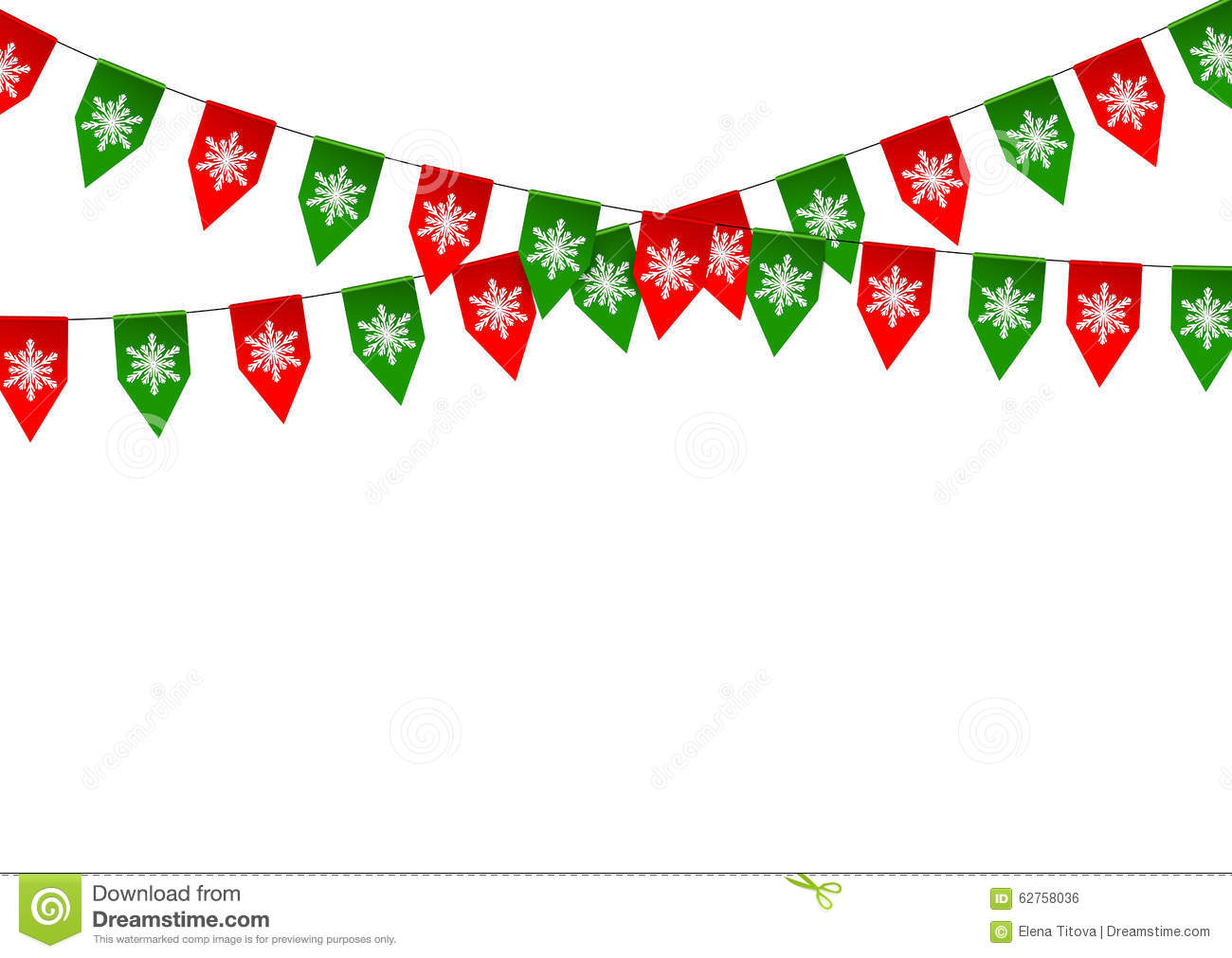 Christmas Bunting Flag Isolated On White Stock Vector - Image ...