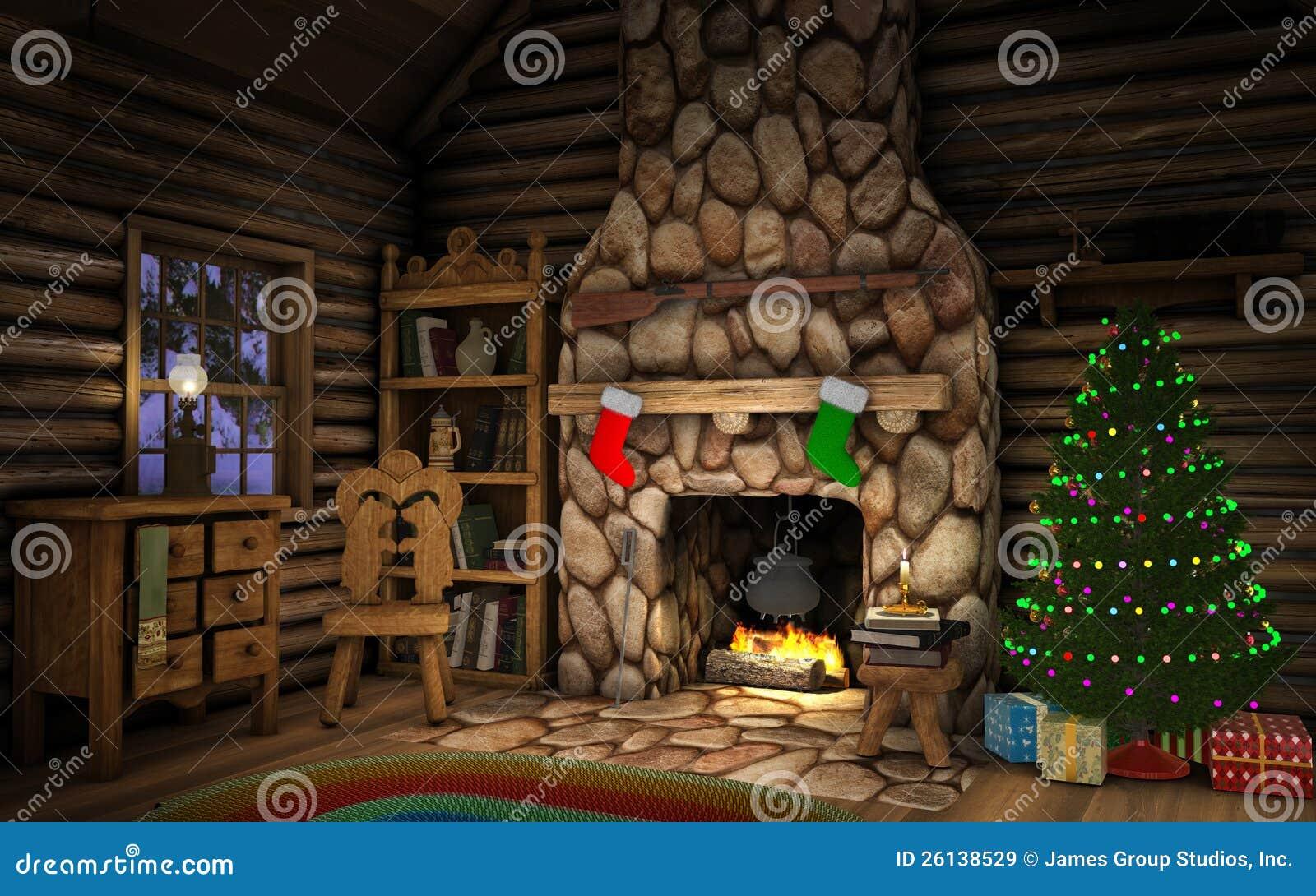 Christmas cabin interior -