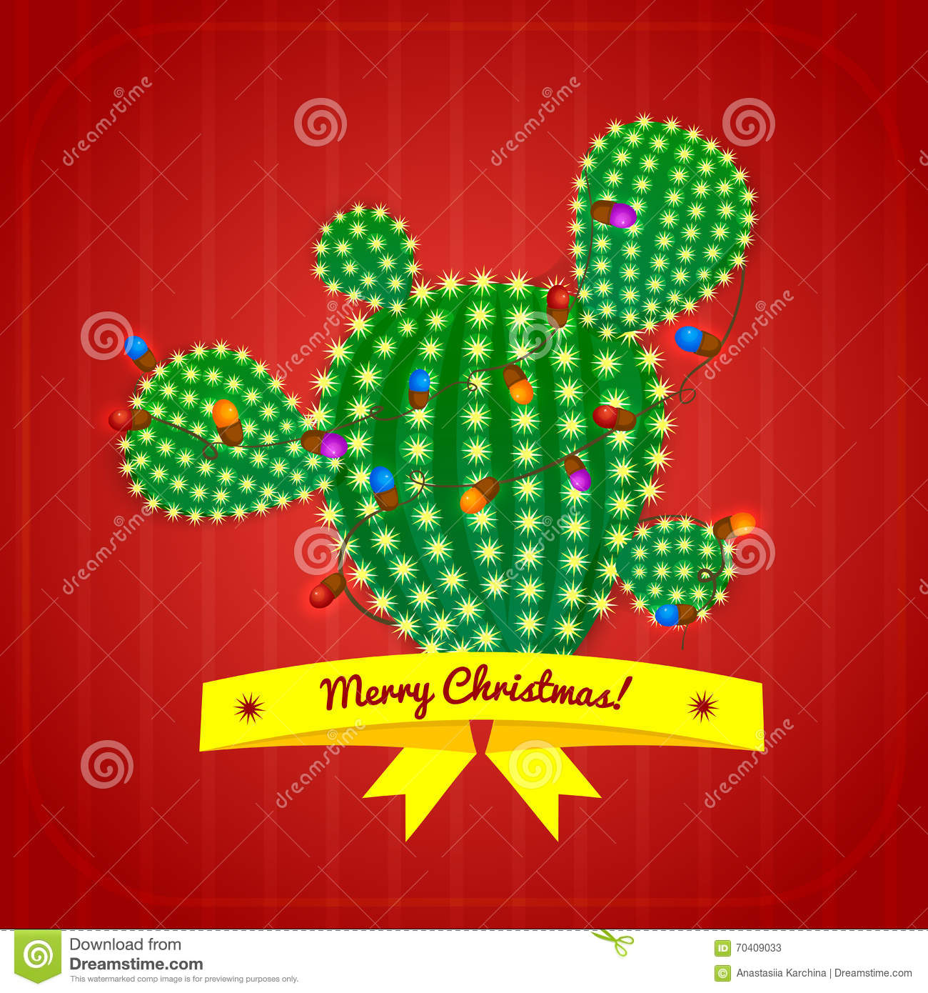 Cactus Decorated For Christmas: Christmas Cactus Tree, Vector Illustration Stock Vector