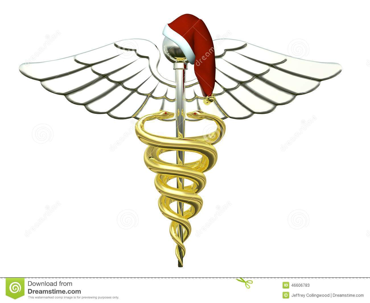 Caduceus medical symbol stock photos royalty free images a gold and silver caduceus medical symbol wearing a santa hat for christmas buycottarizona Gallery
