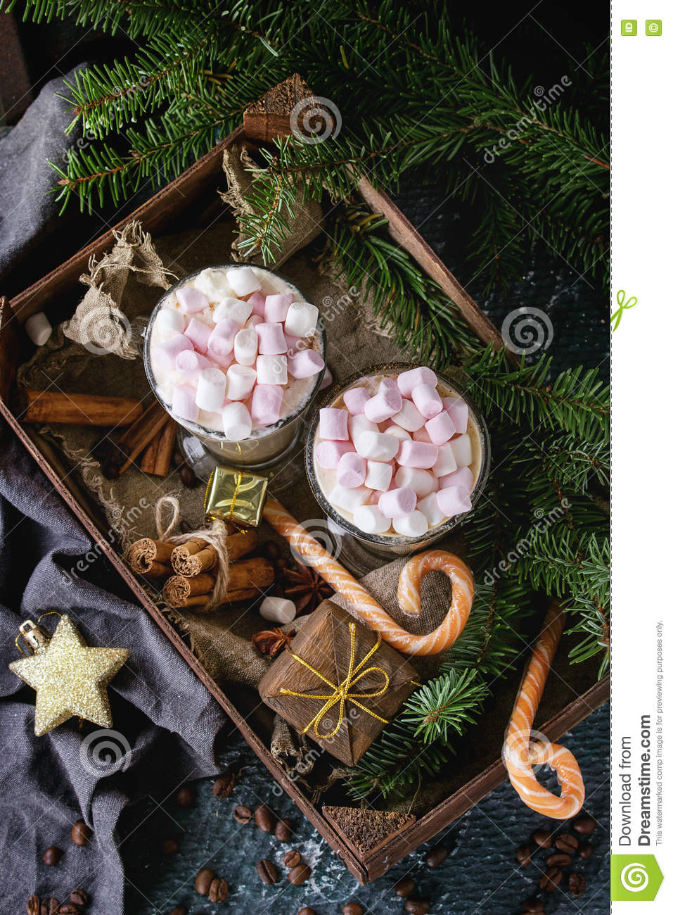 Christmas Cafe Latte With Marshmallow Stock Image - Image of tree, cocoa: 81080809