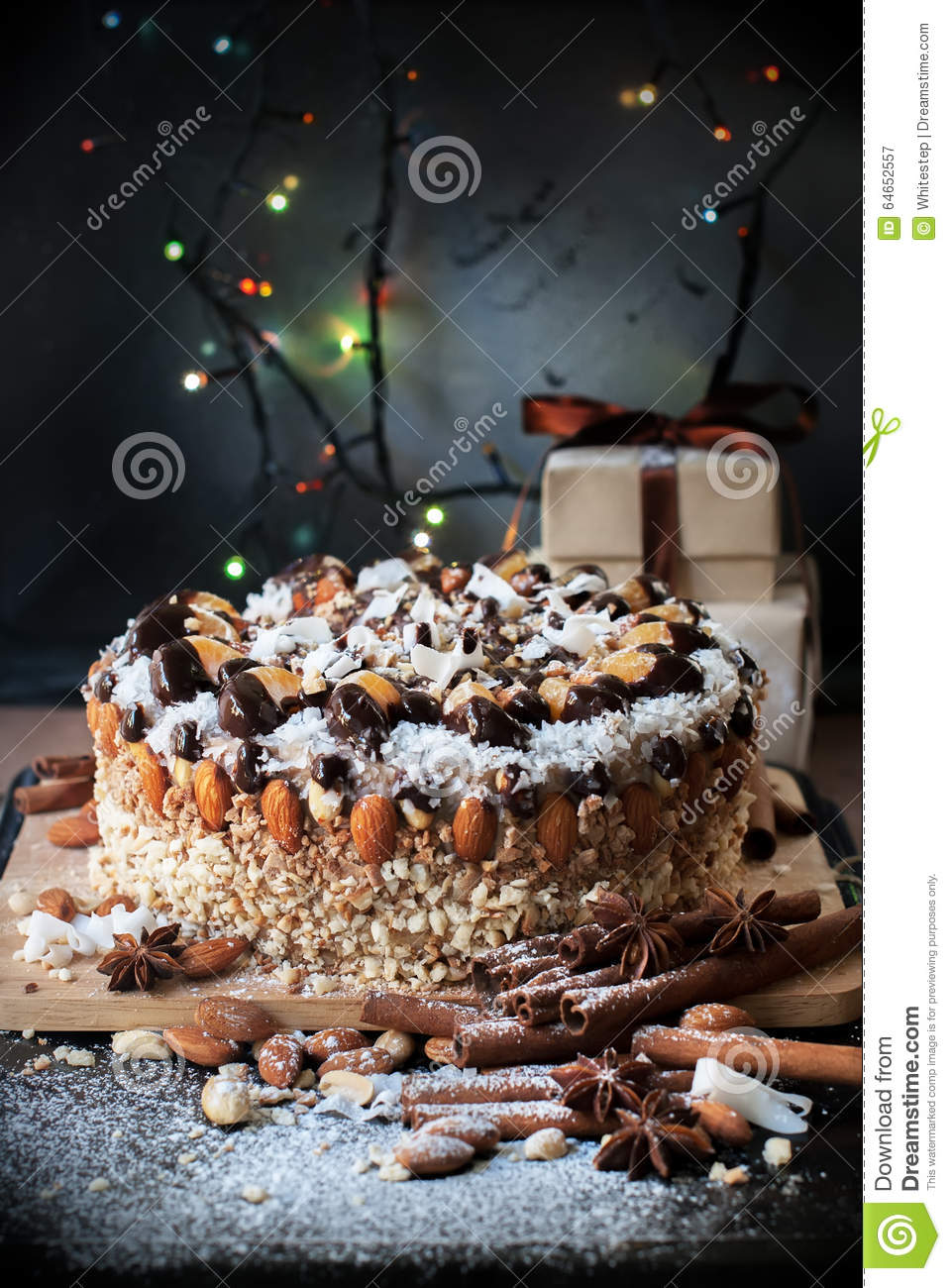 Christmas cake decoration with fruit and nuts - Almond Cake
