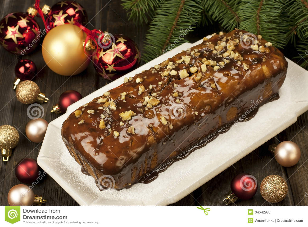 Decorating Christmas Cake Nuts : Christmas cake with decoration royalty free stock photo