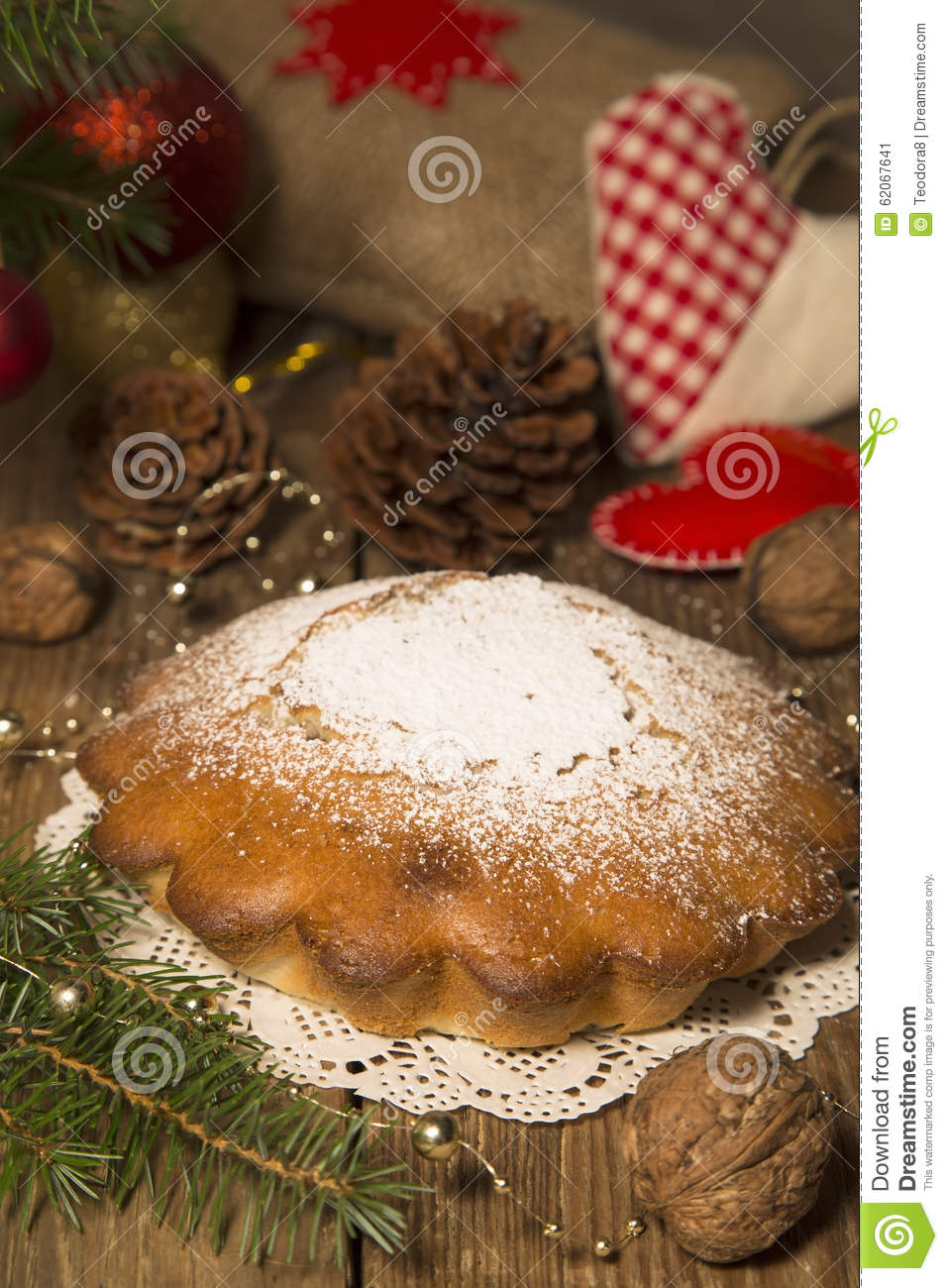Christmas Cake Decoration Nuts : Christmas Cake Stock Photo - Image: 62067641