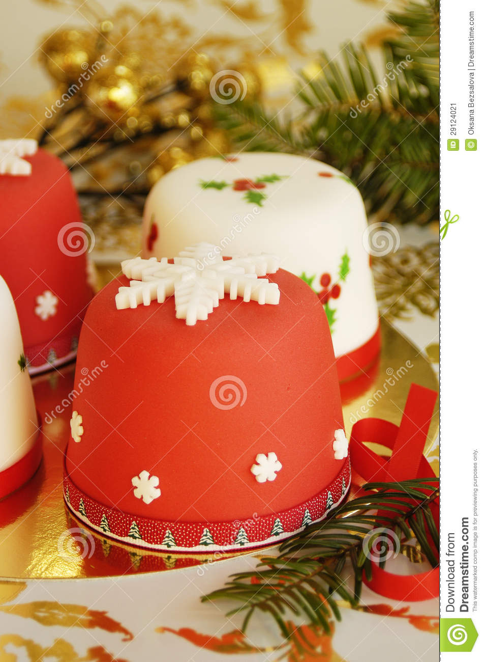Christmas Cakes Decorated With Fondant Stock Image Image