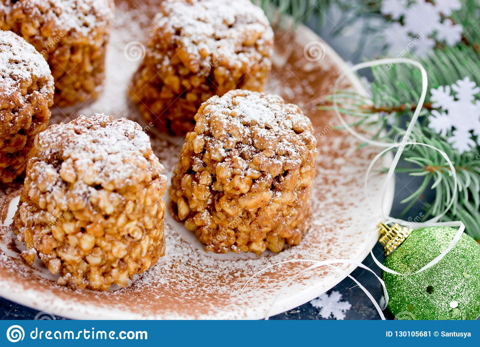 Christmas Cakes Pine Shaped Sweet Cookies Stock Image Image Of